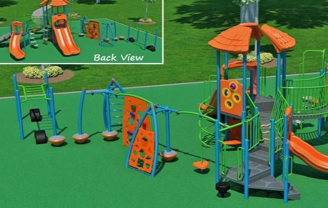 Drawing of new park playground equipment, slides, climbing structures, monkey bars
